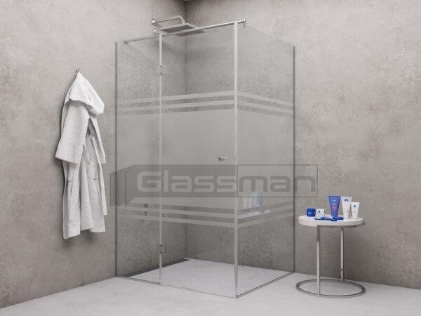 стъклен параван с панти и матирано стъкло