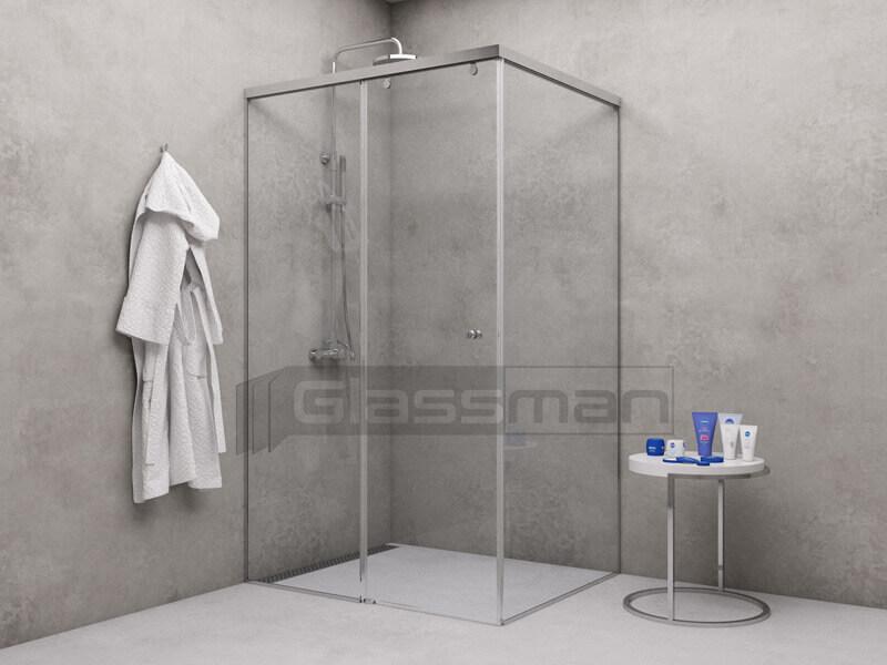 плъзгащ стъклен параван с една врата