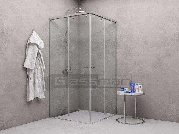 плъзгащ стъклен параван с две врати